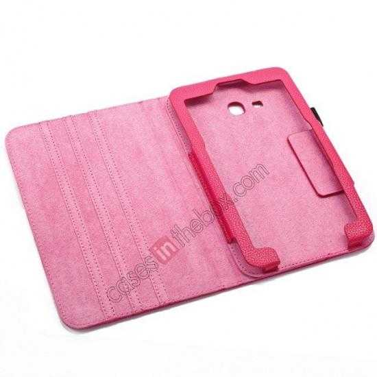 high quanlity Litchi Grain Leather Stand Case for Samsung Galaxy Tab 3 7.0 Lite T110 T111 - Rose