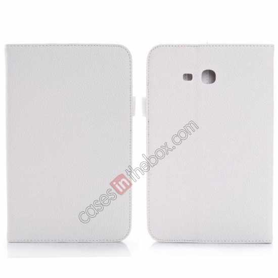 wholesale Litchi Grain Leather Stand Case for Samsung Galaxy Tab 3 7.0 Lite T110 T111 - White