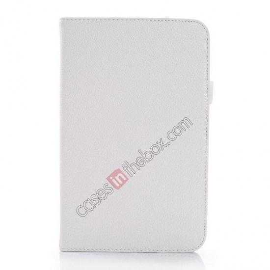 discount Litchi Grain Leather Stand Case for Samsung Galaxy Tab 3 7.0 Lite T110 T111 - White
