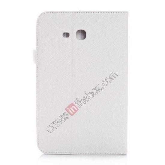 cheap Litchi Grain Leather Stand Case for Samsung Galaxy Tab 3 7.0 Lite T110 T111 - White