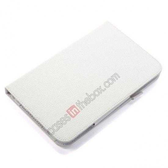 top quality Litchi Grain Leather Stand Case for Samsung Galaxy Tab 3 7.0 Lite T110 T111 - White