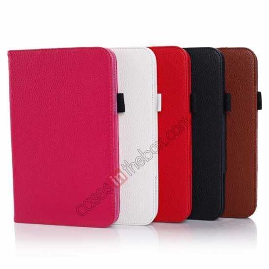 on sale Litchi Grain Leather Stand Case for Samsung Galaxy Tab 3 7.0 Lite T110 T111 - White