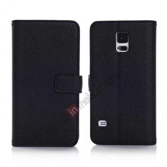wholesale Litchi Leather Stand Case w/ 2 Card Slots for Samsung Galaxy S5 G900 - Black