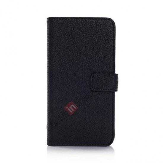 discount Litchi Leather Stand Case w/ 2 Card Slots for Samsung Galaxy S5 G900 - Black