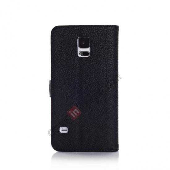 cheap Litchi Leather Stand Case w/ 2 Card Slots for Samsung Galaxy S5 G900 - Black