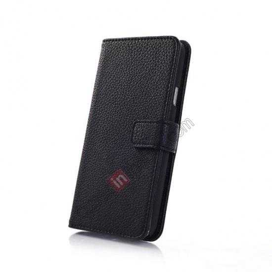 top quality Litchi Leather Stand Case w/ 2 Card Slots for Samsung Galaxy S5 G900 - Black