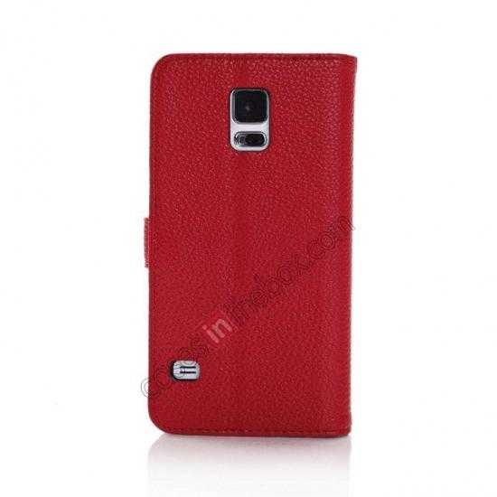 cheap Litchi Leather Stand Case w/ 2 Card Slots for Samsung Galaxy S5 G900 - Red
