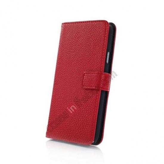 top quality Litchi Leather Stand Case w/ 2 Card Slots for Samsung Galaxy S5 G900 - Red