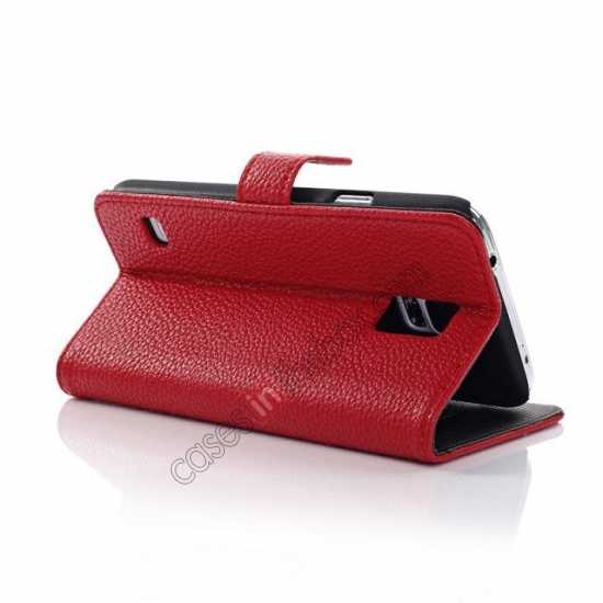 best price Litchi Leather Stand Case w/ 2 Card Slots for Samsung Galaxy S5 G900 - Red