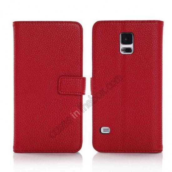 wholesale Litchi Leather Stand Case w/ 2 Card Slots for Samsung Galaxy S5 G900 - Red