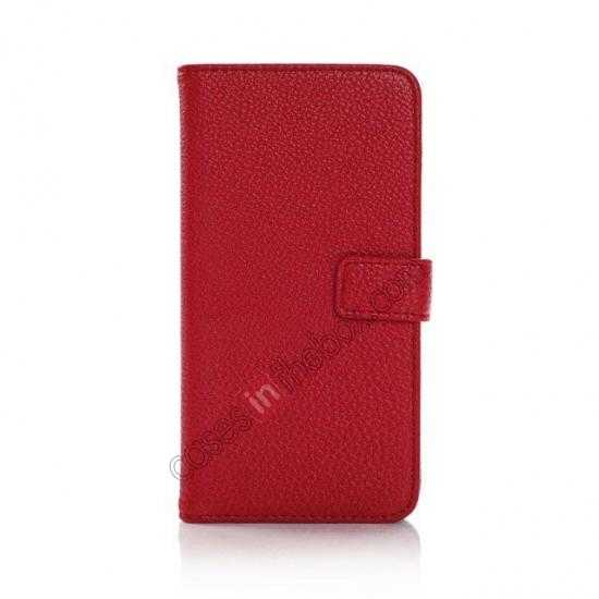 discount Litchi Leather Stand Case w/ 2 Card Slots for Samsung Galaxy S5 G900 - Red