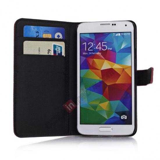 on sale Litchi Leather Stand Case w/ 2 Card Slots for Samsung Galaxy S5 G900 - Red