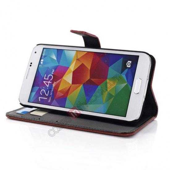low price Litchi Leather Stand Case w/ 2 Card Slots for Samsung Galaxy S5 G900 - Red