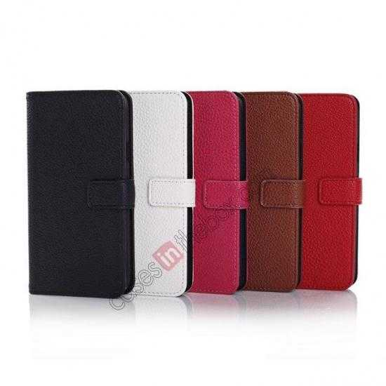 high quanlity Litchi Leather Stand Case w/ 2 Card Slots for Samsung Galaxy S5 G900 - Red