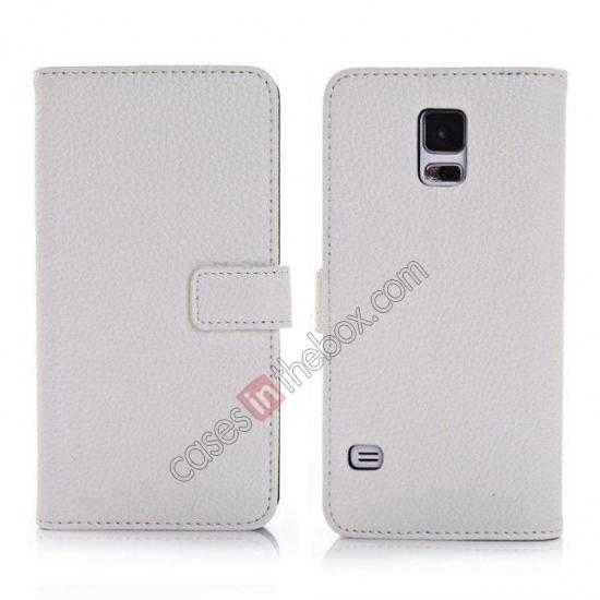 wholesale Litchi Leather Stand Case w/ 2 Card Slots for Samsung Galaxy S5 G900 - White
