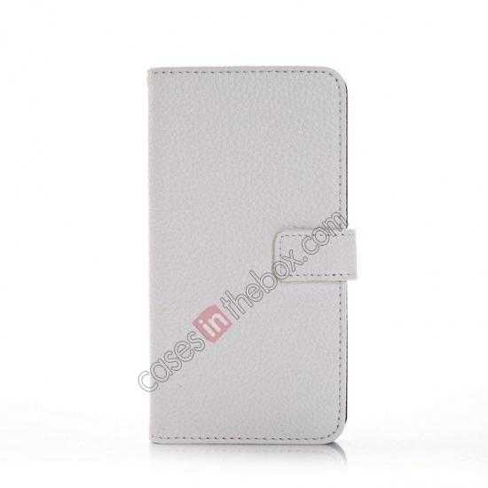 discount Litchi Leather Stand Case w/ 2 Card Slots for Samsung Galaxy S5 G900 - White