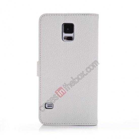 cheap Litchi Leather Stand Case w/ 2 Card Slots for Samsung Galaxy S5 G900 - White