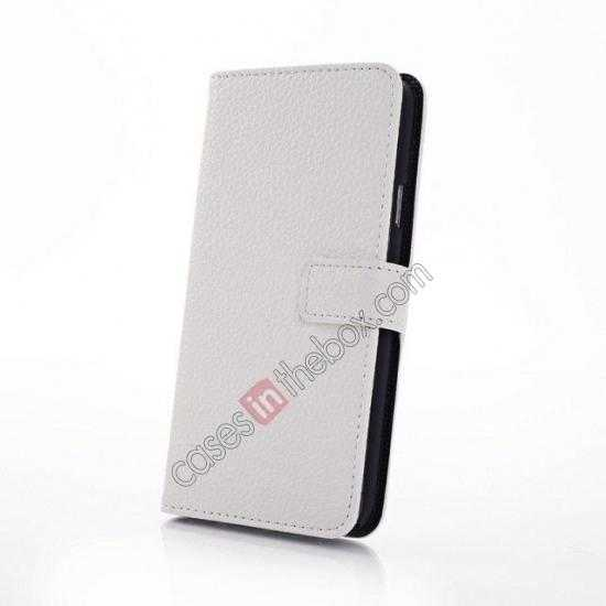top quality Litchi Leather Stand Case w/ 2 Card Slots for Samsung Galaxy S5 G900 - White