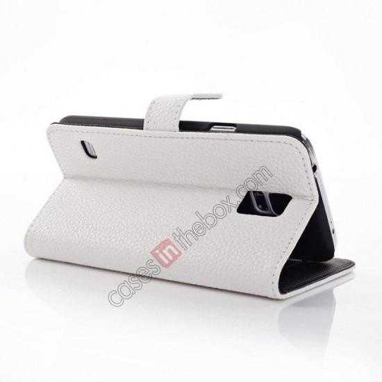 best price Litchi Leather Stand Case w/ 2 Card Slots for Samsung Galaxy S5 G900 - White