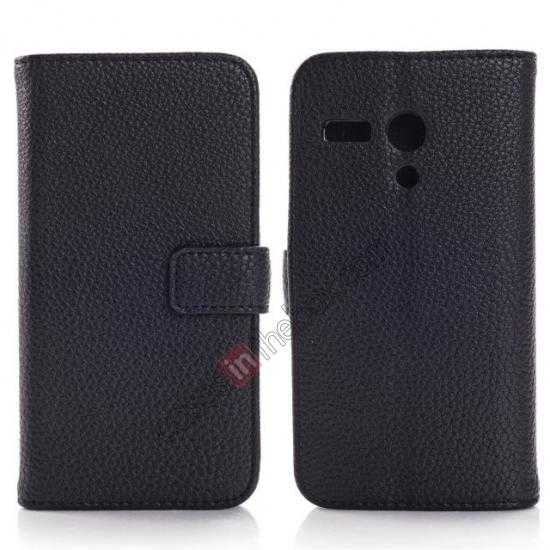wholesale Litchi Leather Wallet Stand Case for Motorola Moto G w/ Card Slots & Stand - Black