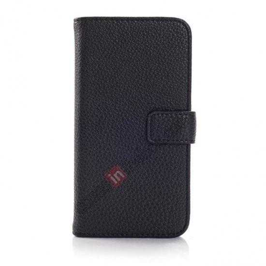 discount Litchi Leather Wallet Stand Case for Motorola Moto G w/ Card Slots & Stand - Black