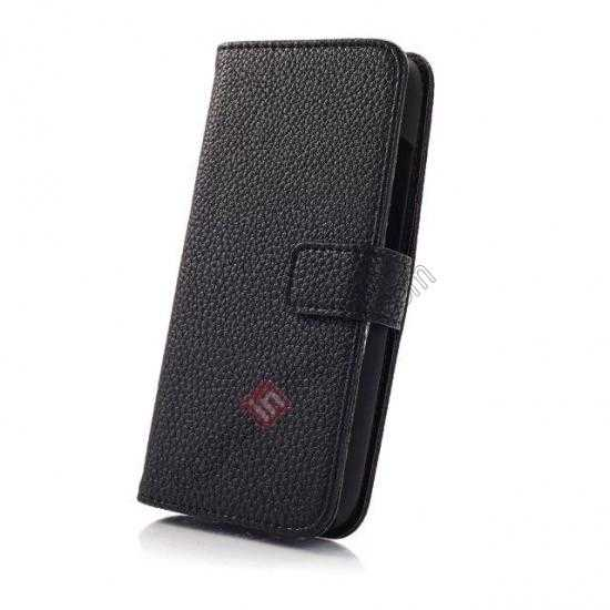 top quality Litchi Leather Wallet Stand Case for Motorola Moto G w/ Card Slots & Stand - Black