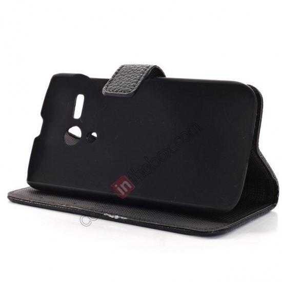 on sale Litchi Leather Wallet Stand Case for Motorola Moto G w/ Card Slots & Stand - Black