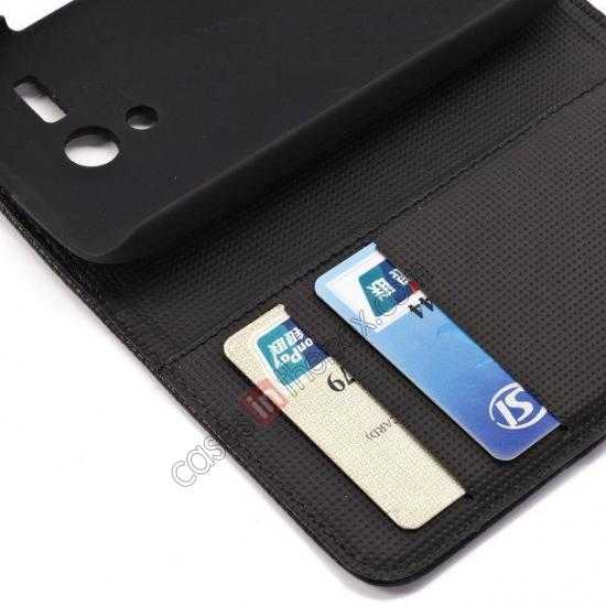 high quanlity Litchi Leather Wallet Stand Case for Motorola Moto G w/ Card Slots & Stand - Black