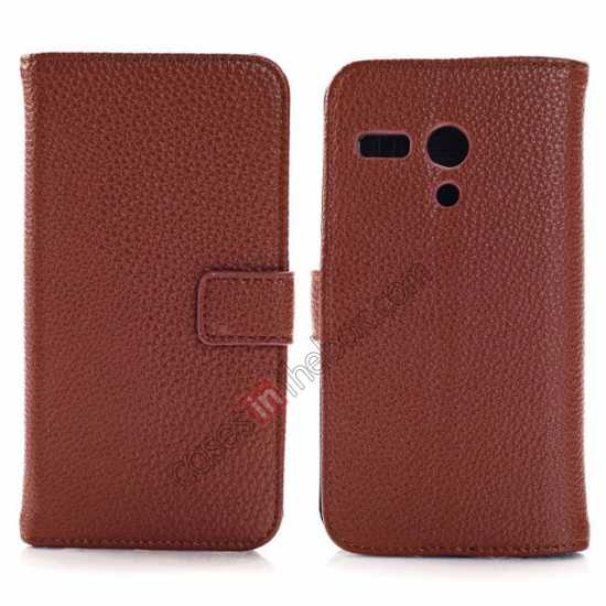 wholesale Litchi Leather Wallet Stand Case for Motorola Moto G w/ Card Slots & Stand - Brown