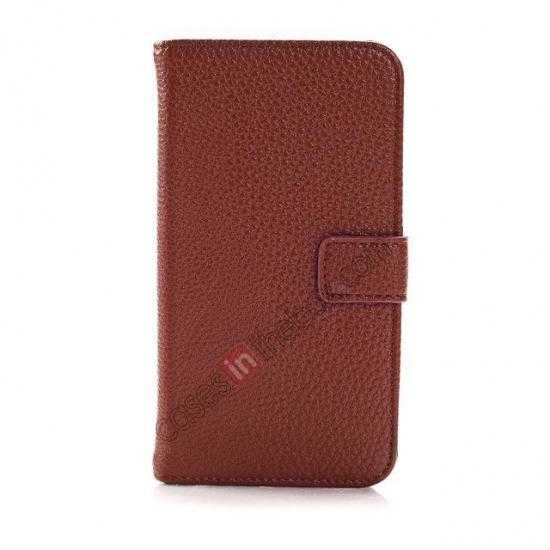discount Litchi Leather Wallet Stand Case for Motorola Moto G w/ Card Slots & Stand - Brown