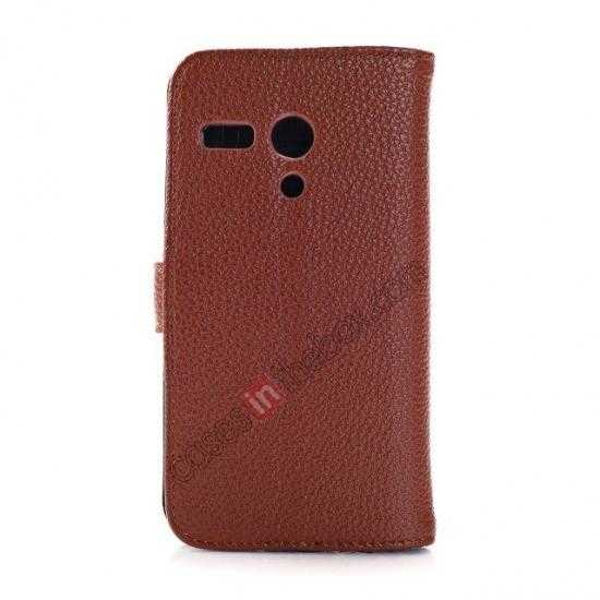 cheap Litchi Leather Wallet Stand Case for Motorola Moto G w/ Card Slots & Stand - Brown