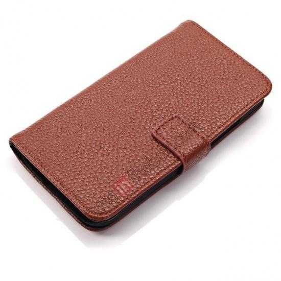 top quality Litchi Leather Wallet Stand Case for Motorola Moto G w/ Card Slots & Stand - Brown