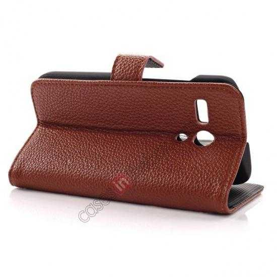 best price Litchi Leather Wallet Stand Case for Motorola Moto G w/ Card Slots & Stand - Brown
