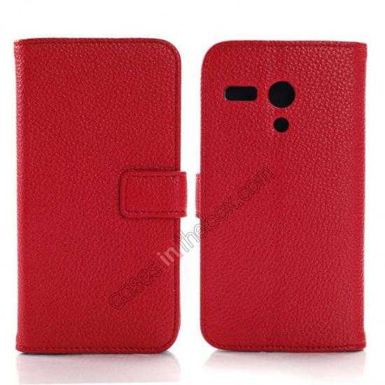 wholesale Litchi Leather Wallet Stand Case for Motorola Moto G w/ Card Slots & Stand - Red