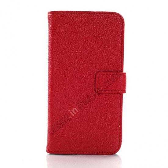 discount Litchi Leather Wallet Stand Case for Motorola Moto G w/ Card Slots & Stand - Red