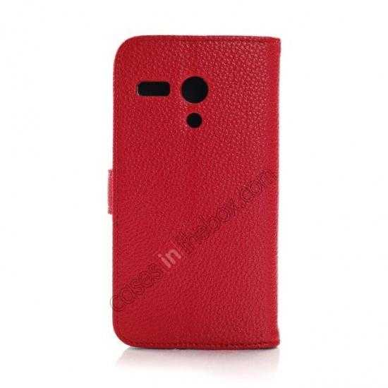 cheap Litchi Leather Wallet Stand Case for Motorola Moto G w/ Card Slots & Stand - Red