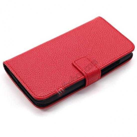 top quality Litchi Leather Wallet Stand Case for Motorola Moto G w/ Card Slots & Stand - Red