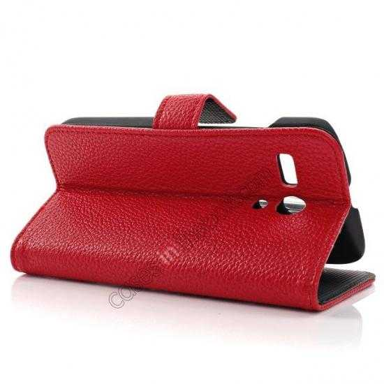best price Litchi Leather Wallet Stand Case for Motorola Moto G w/ Card Slots & Stand - Red