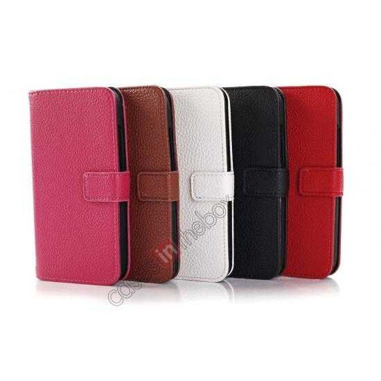 high quanlity Litchi Leather Wallet Stand Case for Motorola Moto G w/ Card Slots & Stand - Red