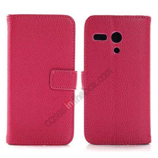 wholesale Litchi Leather Wallet Stand Case for Motorola Moto G w/ Card Slots & Stand - Rose