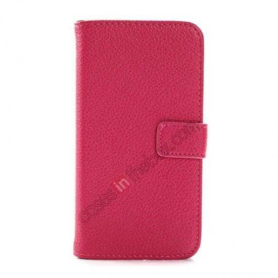 discount Litchi Leather Wallet Stand Case for Motorola Moto G w/ Card Slots & Stand - Rose