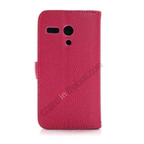 cheap Litchi Leather Wallet Stand Case for Motorola Moto G w/ Card Slots & Stand - Rose