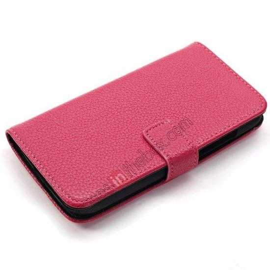 top quality Litchi Leather Wallet Stand Case for Motorola Moto G w/ Card Slots & Stand - Rose