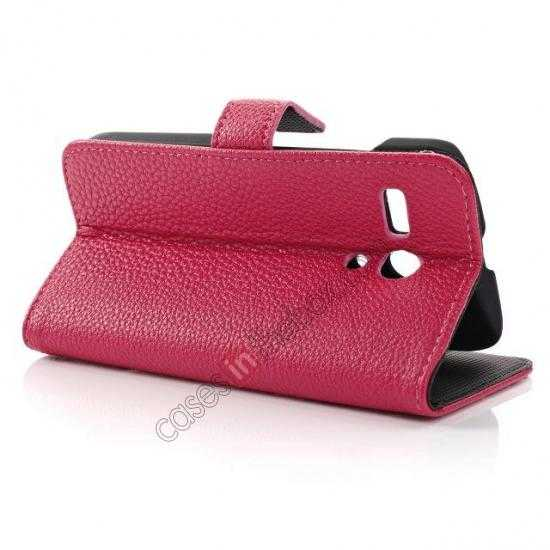 best price Litchi Leather Wallet Stand Case for Motorola Moto G w/ Card Slots & Stand - Rose