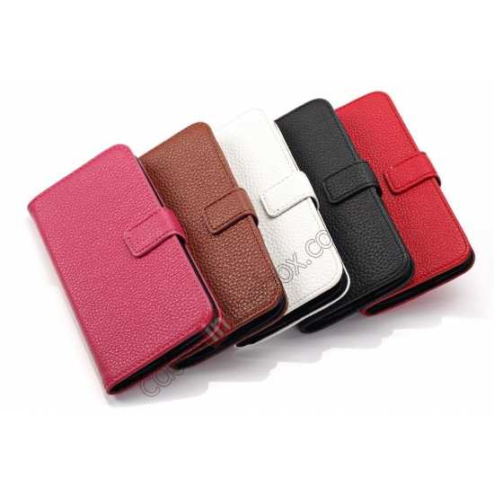 high quanlity Litchi Leather Wallet Stand Case for Motorola Moto G w/ Card Slots & Stand - Rose
