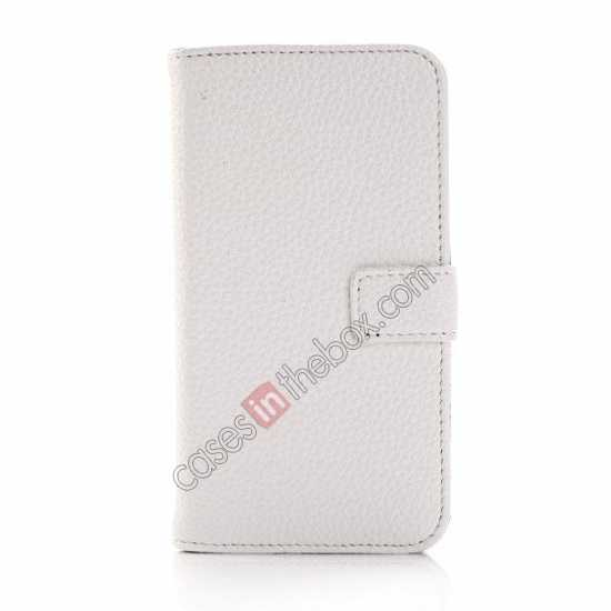 discount Litchi Leather Wallet Stand Case for Motorola Moto G w/ Card Slots & Stand - White