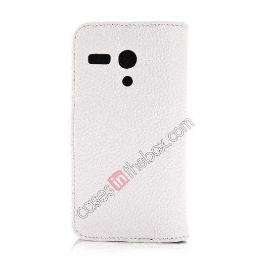 cheap Litchi Leather Wallet Stand Case for Motorola Moto G w/ Card Slots & Stand - White