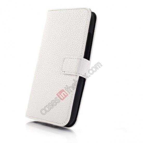 top quality Litchi Leather Wallet Stand Case for Motorola Moto G w/ Card Slots & Stand - White