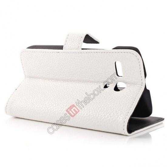 best price Litchi Leather Wallet Stand Case for Motorola Moto G w/ Card Slots & Stand - White