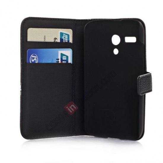 low price Litchi Leather Wallet Stand Case for Motorola Moto G w/ Card Slots & Stand - White